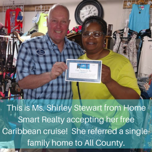 Shirley Stewart earns a cruise from All County Colorado Springs